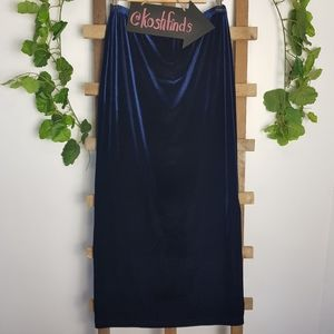❤ Vintage Blue Velvet Maxi Skirt Split Stretch M